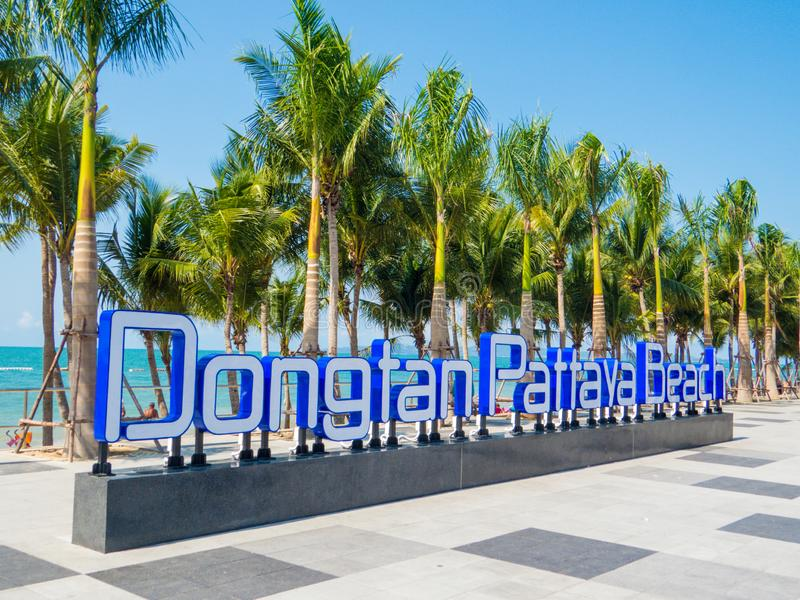 Dongtan Pattaya Beach, Thailand. View of the Dongtan Pattaya Beach sign royalty free stock photo