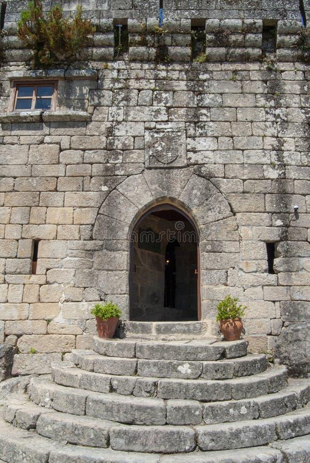 Castle of Villasobroso in the province of Pontevedra in Galicia. View of door of Castle of Villasobroso, medieval castle located in the province of Pontevedra stock photography
