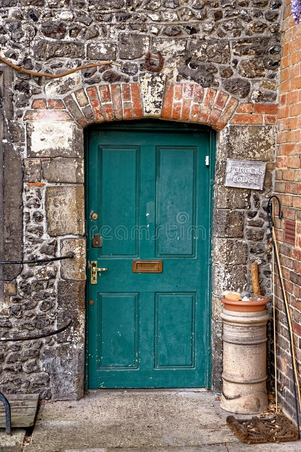 View of door houses - Winchester, UK. View of door houses in old city Winchester - United Kingdom. Photo taken on 6th of May 2019 stock image