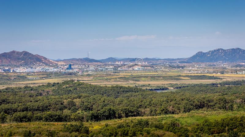 North Korea and DMZ. View from the Dora observatory towards North Korea and the Kaesong Industrial Complex stock photo