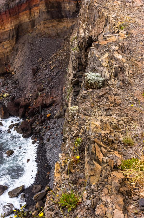 View down the cliff of Sao Lourenco, Madeira, Portugal royalty free stock photo