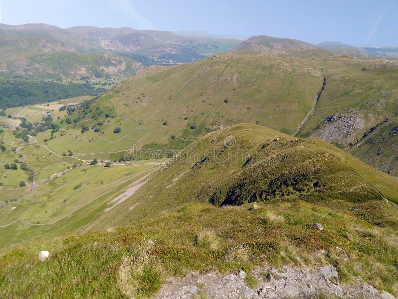 Looking along Gray Crag near Hartsop, Lake District stock images