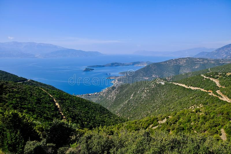 View Down Greek Mountain to the Corinthian Gulf stock photos