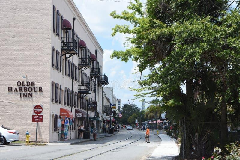 View Down Historic River Street in Savannah, Georgia stock images