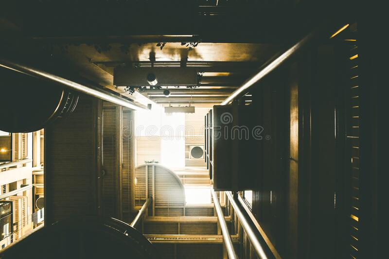 View down a lift shaft stock photo