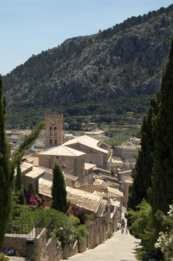 View down the steps at Pollensa vert. A view over Pollensa, Mallorca, from the Calvary Steps royalty free stock image