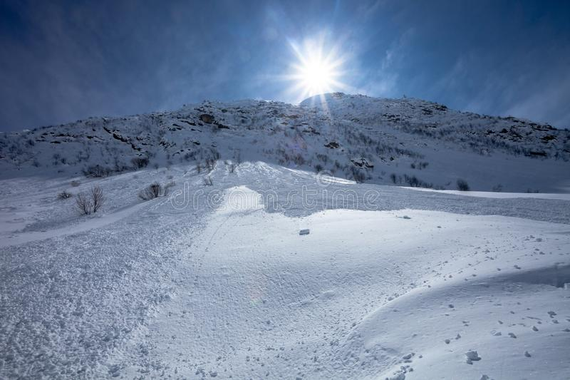 View on Downhill after avalanche stock images