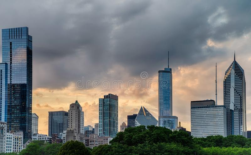 View of downton, Chicago. In the USA royalty free stock photo
