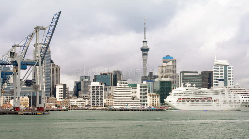 View of downtown Auckland from the entrance to the stock photography