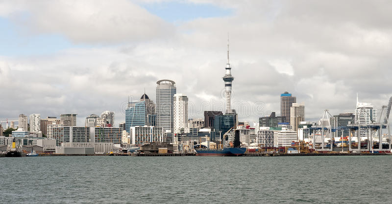 View of downtown Auckland from the entrance to the royalty free stock photo