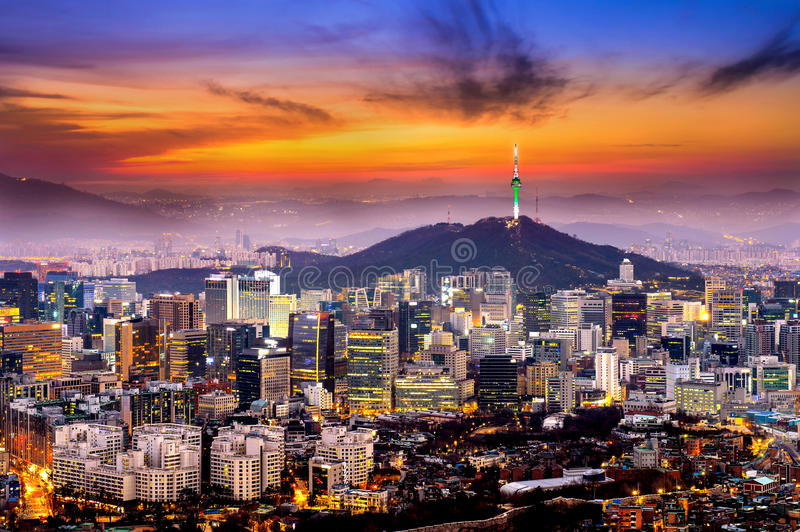 View of downtown cityscape and Seoul tower in Seoul,Korea stock photography