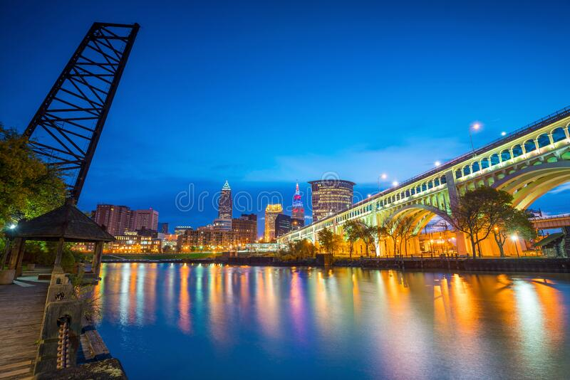 View of downtown Cleveland stock photography