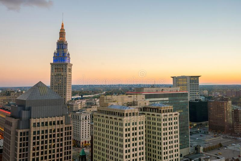 View of downtown Cleveland royalty free stock photography
