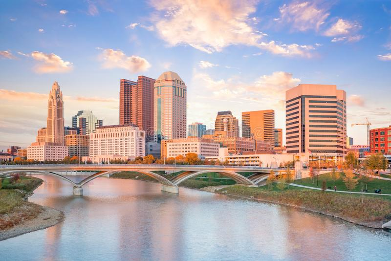 View of downtown Columbus Ohio Skyline at Sunset stock image
