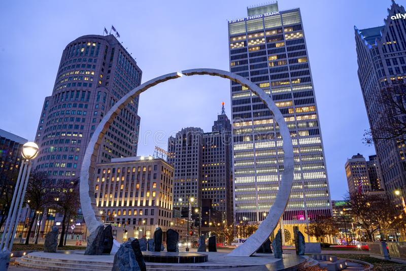 View of downtown Detroit at night in Michigan, USA stock photos