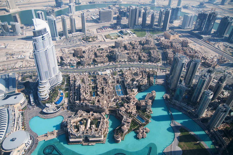 View of downtown Dubai from Burj Khalifa stock photos