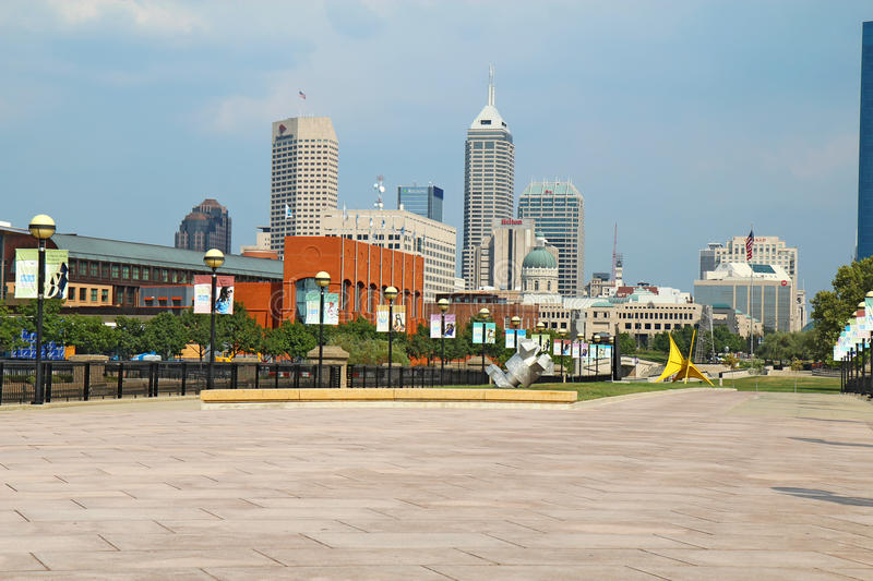 View of downtown Indianapolis, Indiana. View of the skyline and buildings in downtown Indianapolis, Indiana, on September 3, 2011. The city will be the host for royalty free stock photography