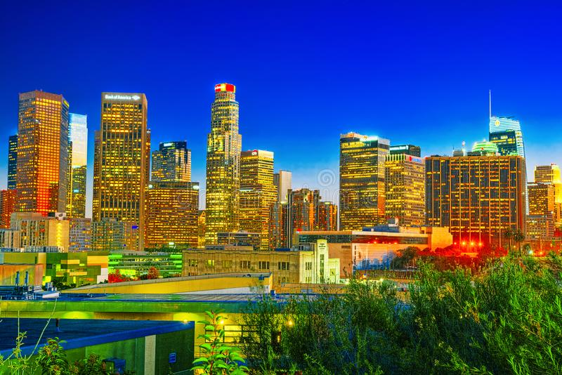 View of the Downtown of LA in the evening, night time stock photography