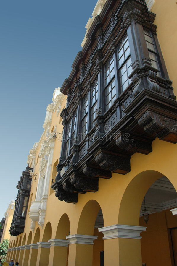 View of downtown Lima Peru. With colonial balconies royalty free stock photo