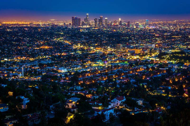 View of the downtown Los Angeles skyline at night, royalty free stock photography