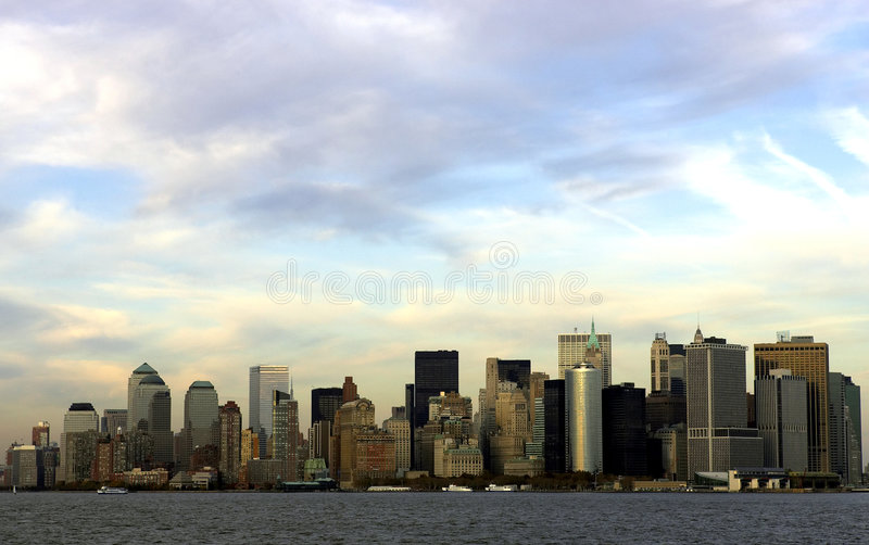 View of downtown manhattan. At dusk from the statten island ferry, manhattan, new york, America, usa stock images