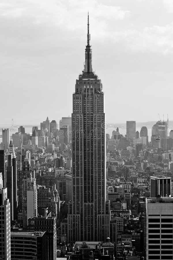View of Downtown Manhattan. From atop a skyscraper, New York City royalty free stock photography