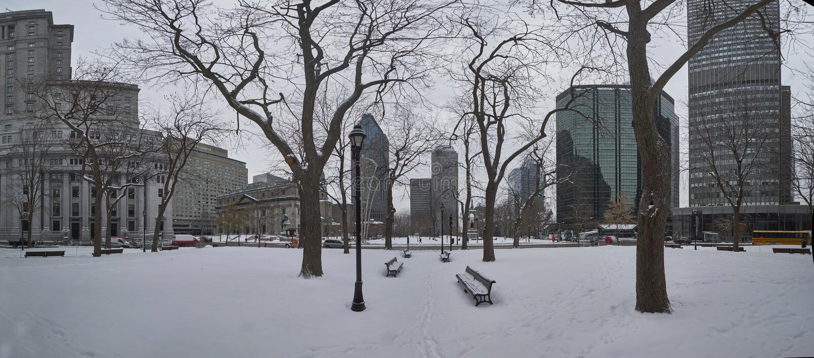A view of downtown Montreal in winter stock photography