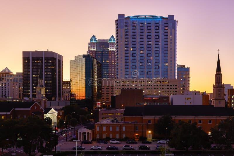 Downtown Orlando, Florida Skyline. View of the downtown Orlando, Florida skyline on a winter evening stock photo