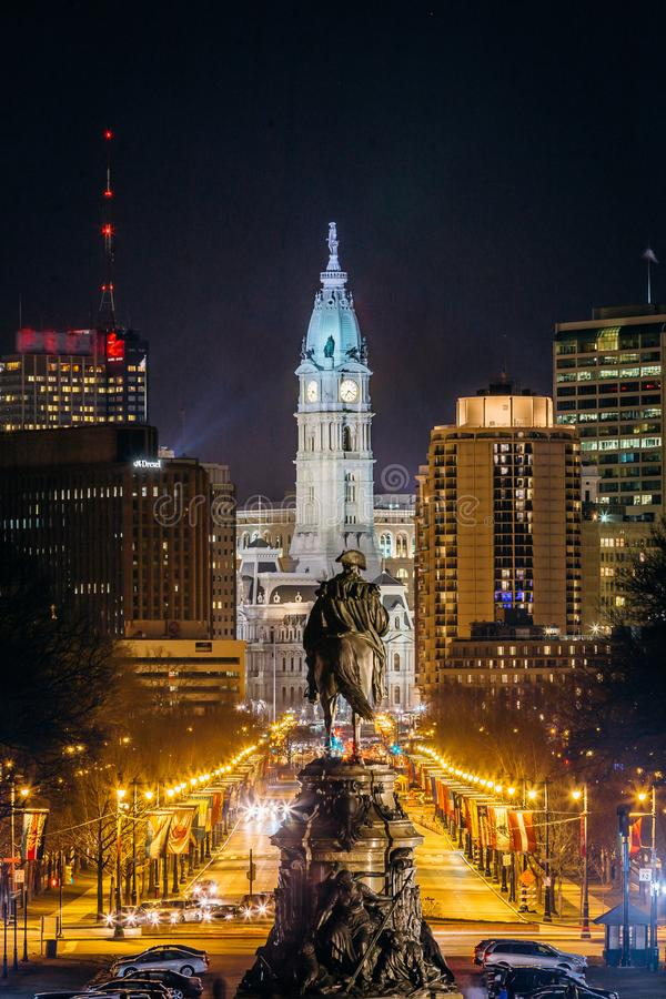 View of downtown Philadelphia, Pennsylvania at night from the Philadelphia Museum of Arts stock photography