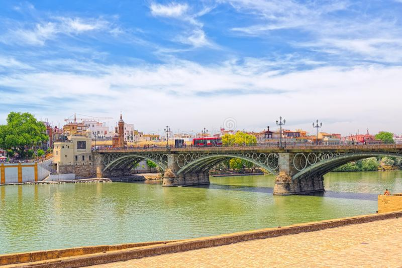 View on downtown of Seville and Guadalquivir River Promenade. Seville, Spain- June 08, 2017 : View on downtown of Seville and Guadalquivir River Promenade stock photography