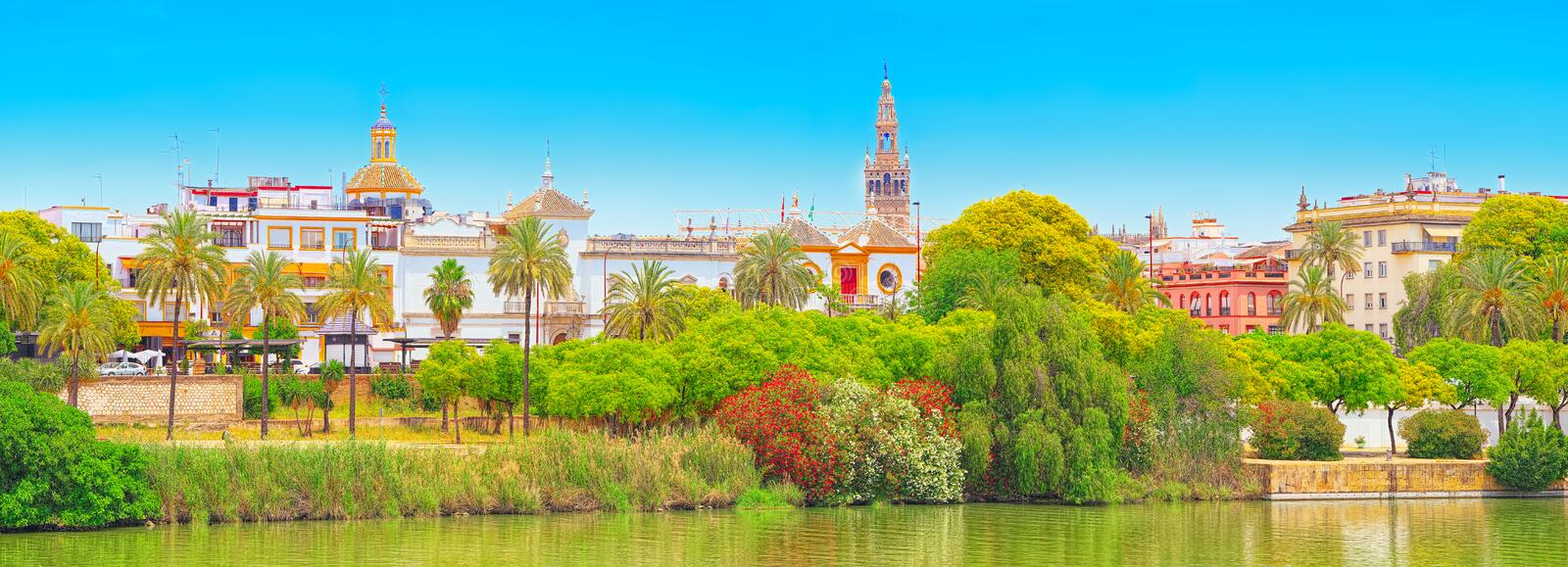 View on downtown of Seville and Guadalquivir River Promenade. Spain royalty free stock photography