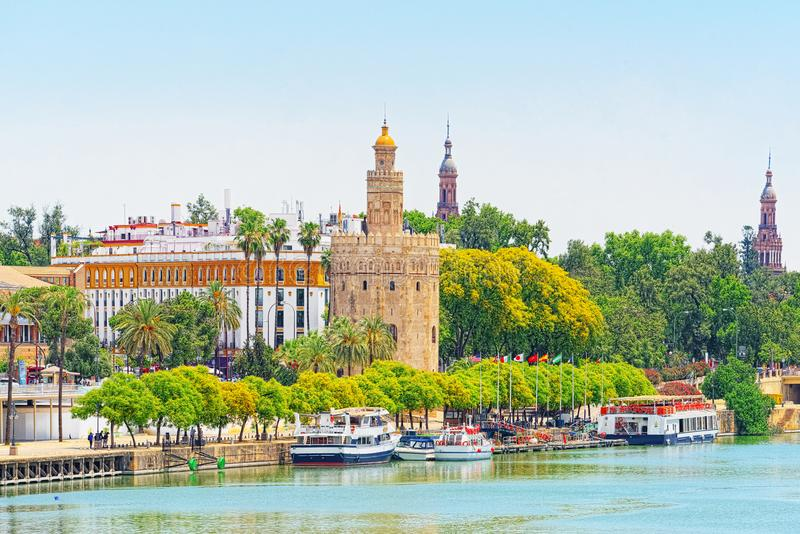 View on downtown of Seville and Guadalquivir River Promenade. Spain stock photography