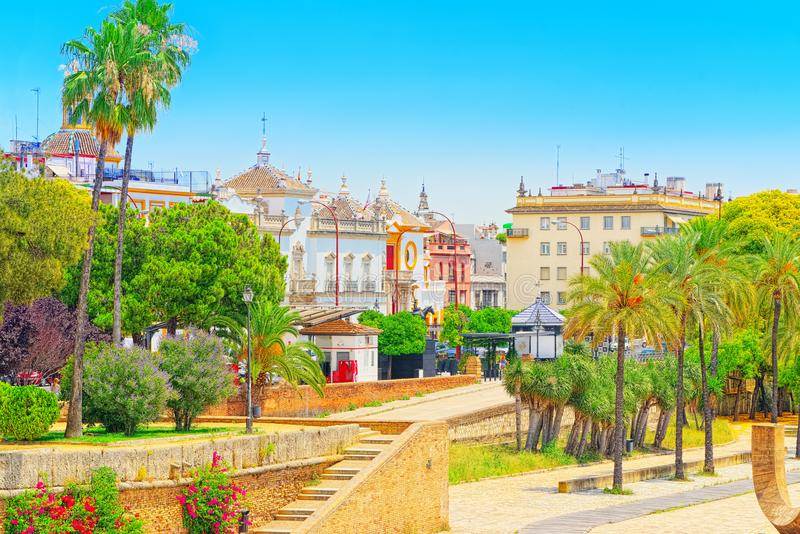 View on downtown of Seville and Guadalquivir River Promenade. Spain stock image