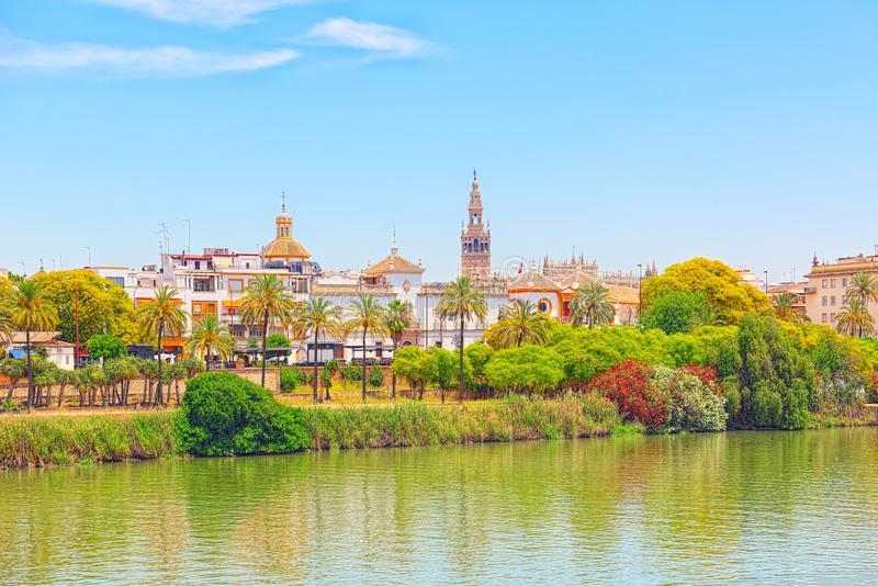 View on downtown of Seville and Guadalquivir River Promenade. Spain royalty free stock images