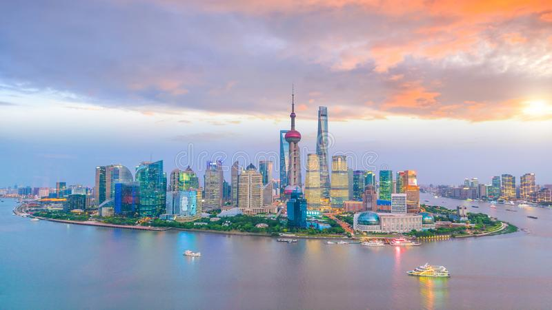 View of downtown Shanghai skyline at twilight. In China royalty free stock photo