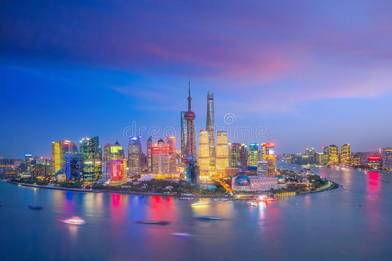 View of downtown Shanghai skyline at twilight. In China stock images