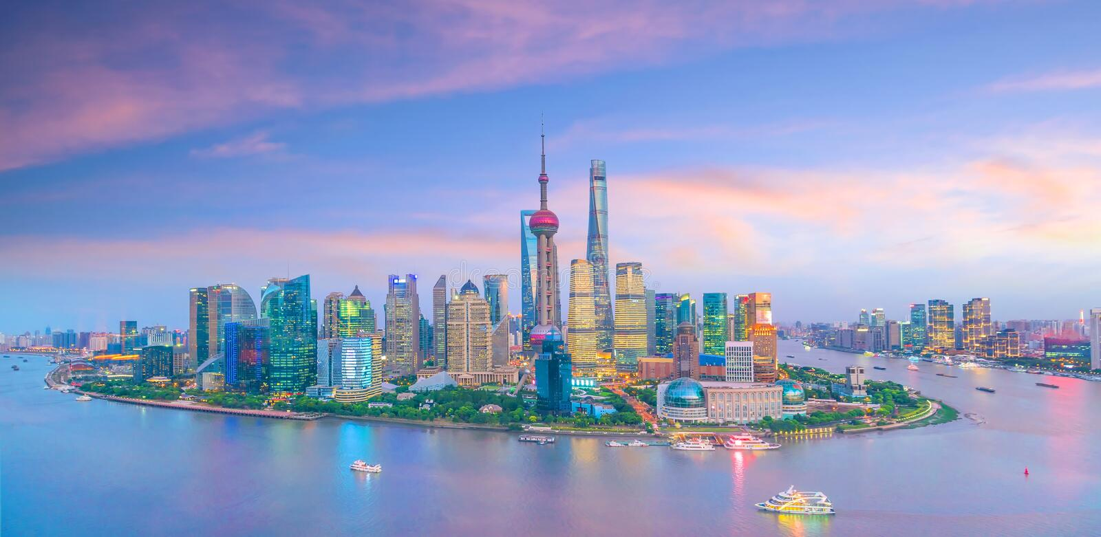 View of downtown Shanghai skyline at twilight. In China royalty free stock photography