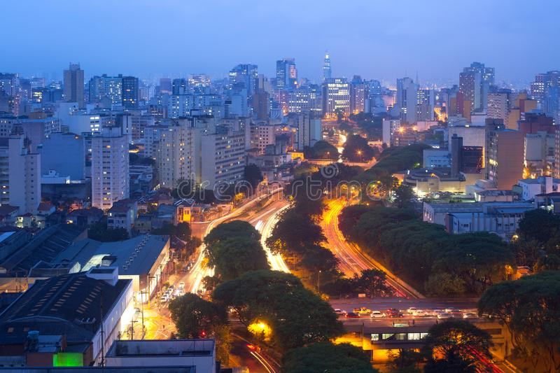 View of downtown skyline and Avenue 23 de Maio stock photography