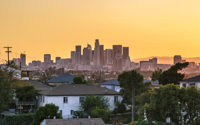 View of Downtown skyline at golden hour, Los Angeles, California stock photography