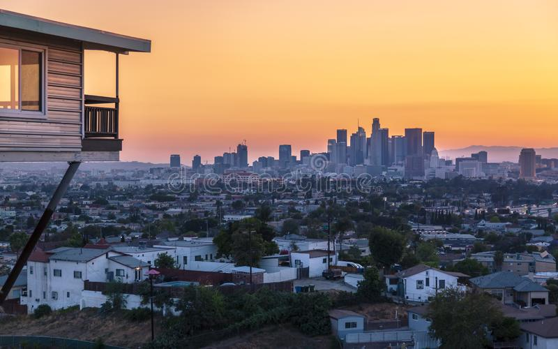 View of Downtown skyline at golden hour, Los Angeles, California royalty free stock photography