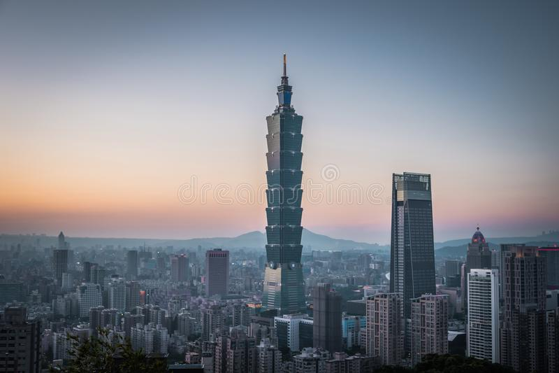 View of downtown in Taipei at the sunset time with Taipei 101 Skyscraper. View of downtown in Taipei at the sunset time with Taipei 101 Skyscraper, capital city stock images
