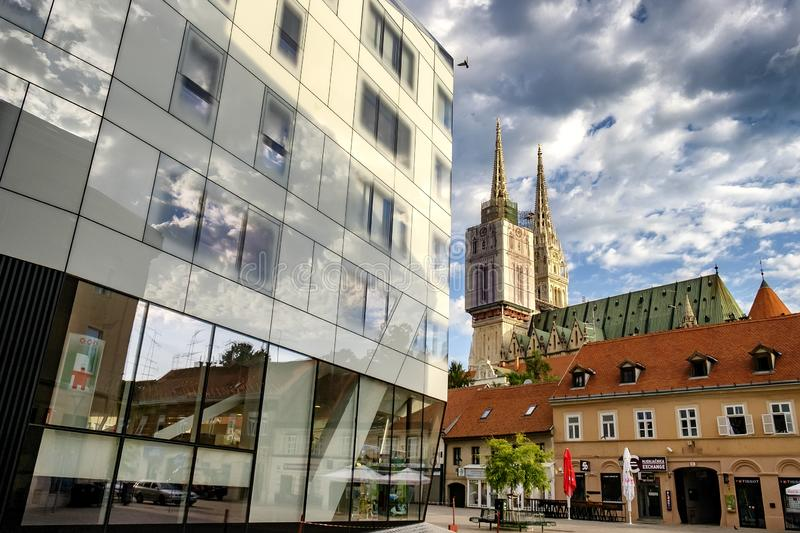 View from downtown to the towers of catholic Cathedral in Zagreb, Croatia. June 2017 royalty free stock images