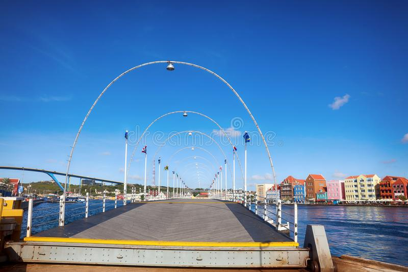 View of downtown Willemstad. Curacao, Netherlands Antilles. Floating bridge stock image