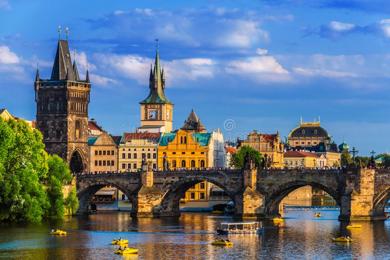 View of dowtown Prague with Charles Bridge over Vltava royalty free stock photo