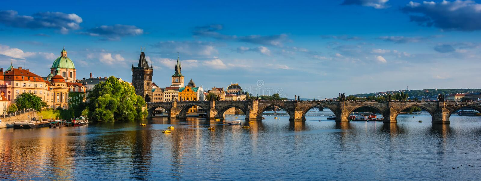 View of dowtown Prague with Charles Bridge over Vltava royalty free stock images