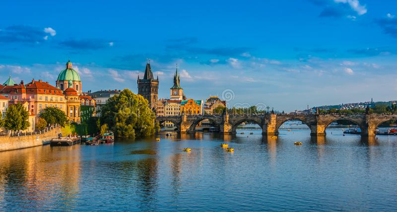 View of dowtown Prague with Charles Bridge over Vltava royalty free stock photos