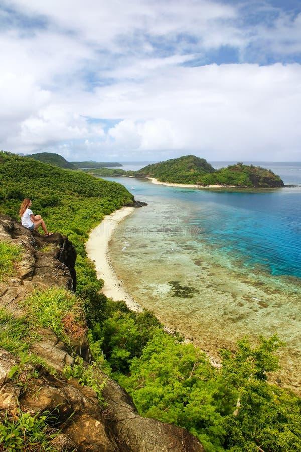 View of Drawaqa Island coastline and Nanuya Balavu Island, Yasawa Islands, Fiji royalty free stock photo