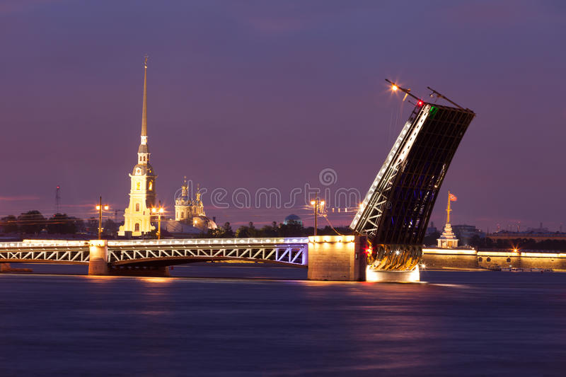 View of the drawn bridge in the city of St. Petersburg stock photography