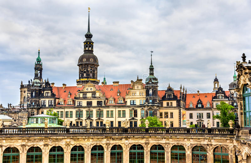 View of Dresden castle from Zwinger Palace royalty free stock photos