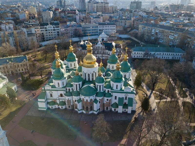 View from the drone of the Cathedral of St. Sophia Cathedral in Kiev city, Ukraine. stock photography